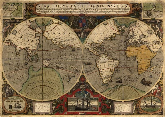 Frameless Vintage World Map Pictures Prints Oil Painting On Canvas - Large vintage world map