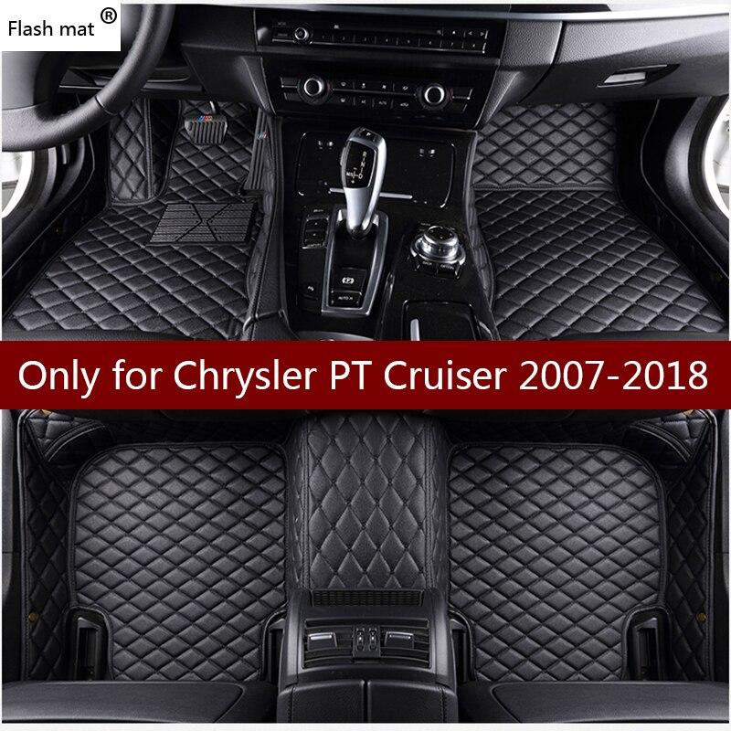 Tapis de sol Flash en cuir pour Chrysler PT Cruiser 2007-2015 2016 2017 2018 tampons de pied personnalisés tapis de voiture bâches de voiture