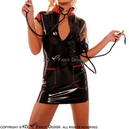 Black With Red Sexy Latex Nurse Uniform Sets With Fake Pocket Decorations Zipper At Back Rubber Dress LYQ-0103