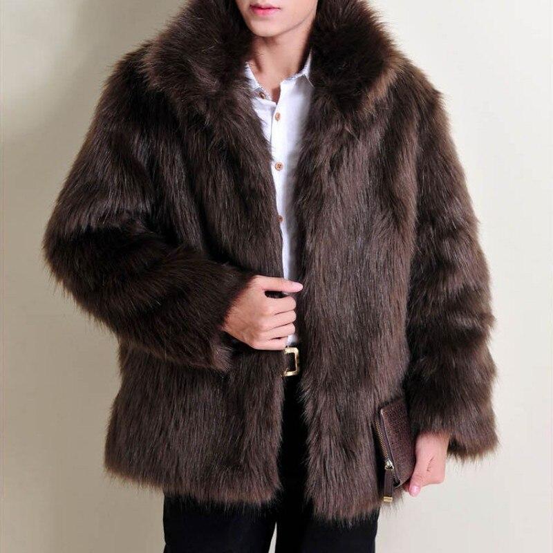 Осень/Зима Мужчины с длинным рукавом из искусственного Меховая куртка крюк и глаз закрытым Роскошные пальто