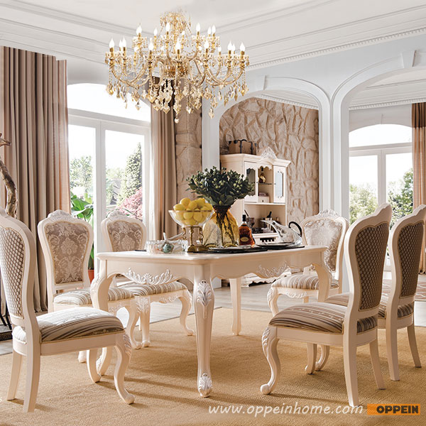 French Style Solid Wood Round Dining Table OT 0314065(China)
