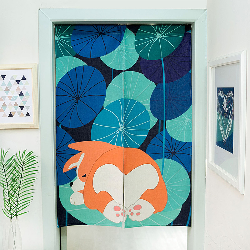 Sleeping Dog Door Curtain Bedroom Kitchen Bathroom Shuttered Curtain Noren Japanese Curtain Entrance Feng Shui Door Curtain