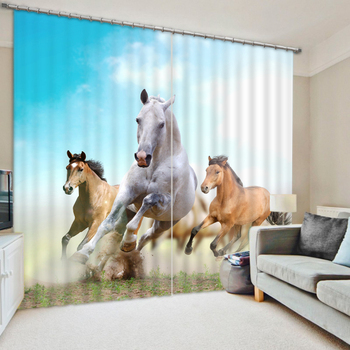 Modern Luxury Running Horse Printing 3D Blackout Window Curtains For Bedding room Living room Hotel Drapes  Cortinas De Sala