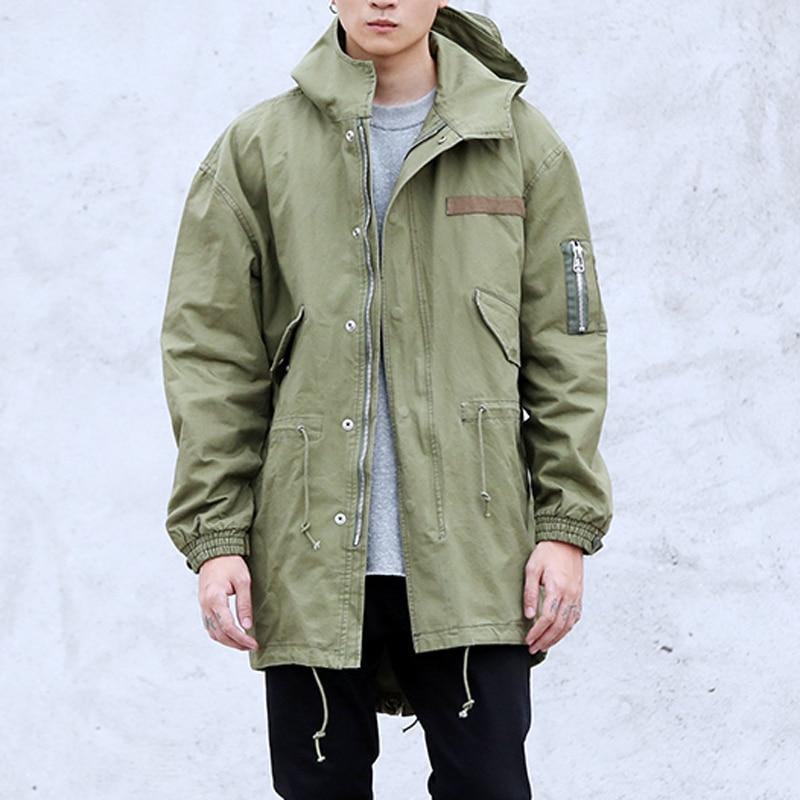 Chaude Armée Green Mode Noir Casual Militaire Veste De Vestes Vert 2016 L'europe Hommes Long High army Noir Street Manteau Hanche Hopwinter 6Rpt4nz