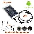 7mm Lente Endoscopio USB de la Cámara OTG Android 1 M/2 M Impermeable Inspección de la Serpiente Del Tubo Tubo USB OTG boroscopio Cámara 6 unids LED