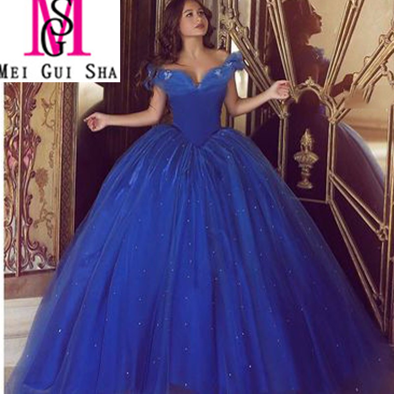 Plus Size Wedding Dresses Cinderella Ball Gown: New Hot Selling 2016 Cinderella Royal Blue Ball Gown V