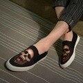 2016 moda skullbones masculinos calçados esportivos casuais denim plana sapatos casuais da sapatilha dos homens maré frete grátis