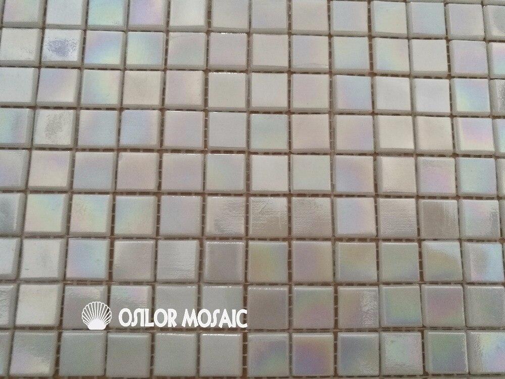 Bianco colore iridescente mattonelle di mosaico di vetro per bagno e