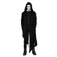 Punk Black Men's Hooded Long Sweater Coats With Stripes Worsted Detachable Cotton Jackets Darkly Casual Overcoat