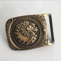 Retail New Style High Quality Solid Brass 3D Dragon Belt Buckle With FashionMens Buckles Jeans Accessories