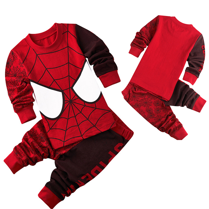 Spiderman Printed Pattern Kids Set Pajamas Set Boys Sleepwear Boys Clothes Kids Pjs Long Sleeve Top Boy Pants Tracksuit 2Pcs 6Y