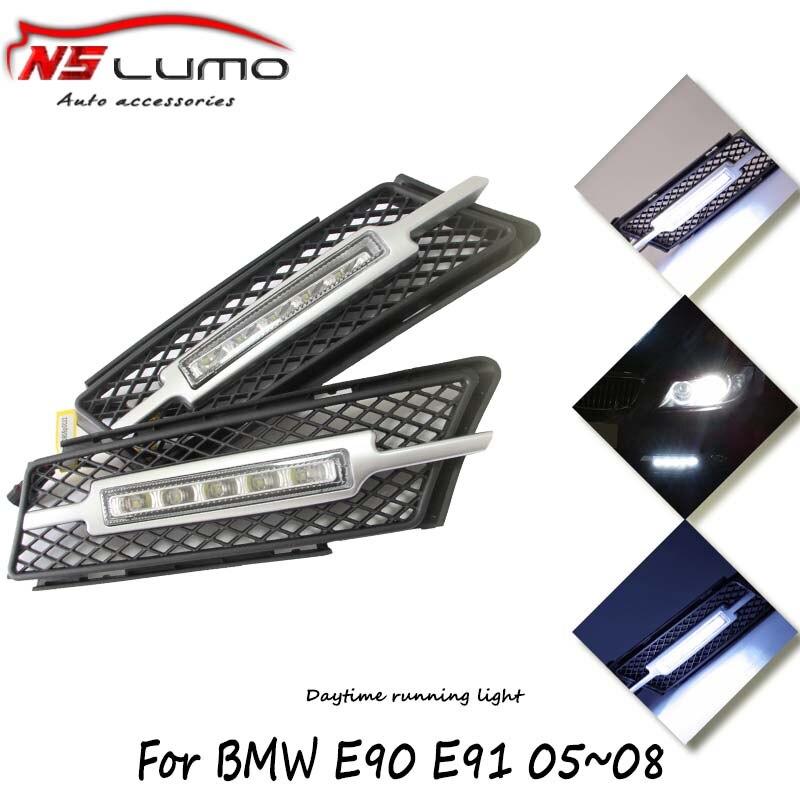 1 pair 10W C ree led high power drl daytime running light 12V DC for BMW 3 series E90 E91 05~08 led auto drl day driving light