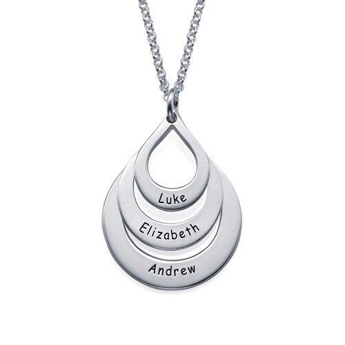 Nouveau design de mode nom de famille collier goutte d'eau nom personnalisé pendentif collier cadeau d'anniversaire nouvelle maman cadeau frères et sœurs enfants