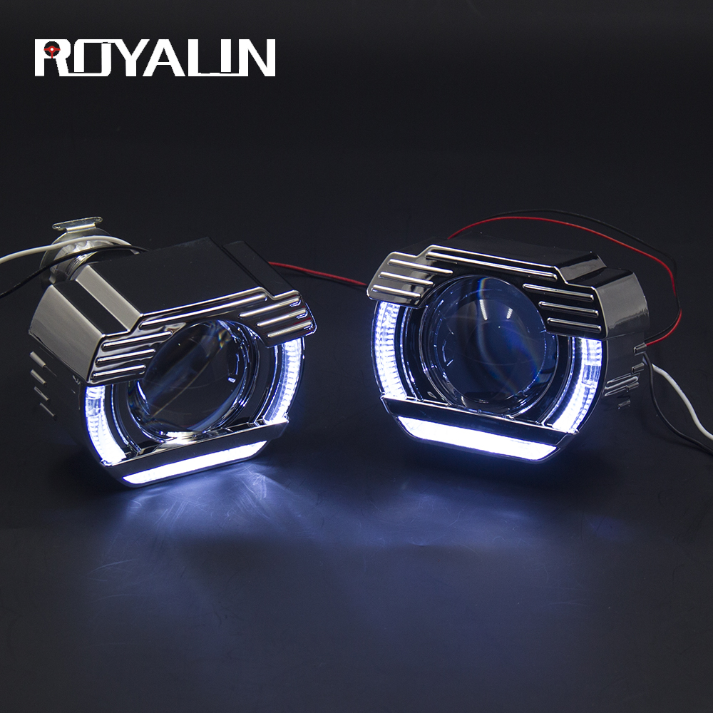ROYALIN Car Styling Daytime Running Light Bi Xenon Projector Lens 2.0 Inch W/ DRL LED Angel Eyes Rings For Auto Head Lamps H4 H7