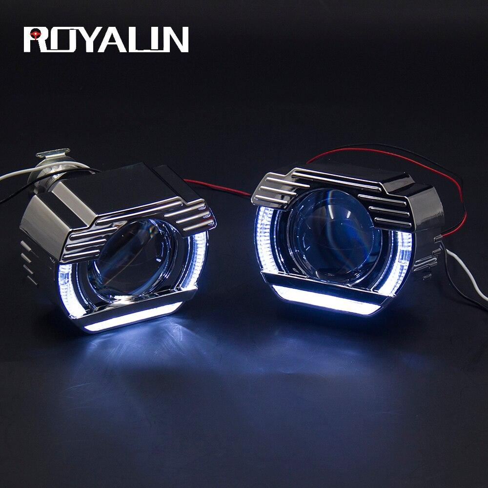 ROYALIN voiture style diurne lumière Bi xénon projecteur lentille 2.0 pouces W/DRL LED ange yeux anneaux pour Auto phares H4 H7