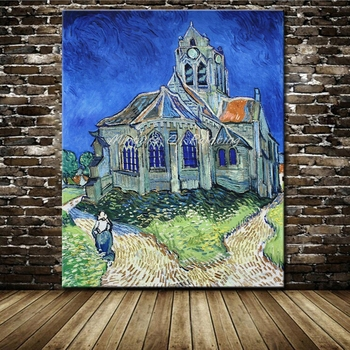 Unframe Church at Auvers Vincent Van Gogh Hand Painting Reproduction Oil Painting On Canvas Wall Art Picture For Home Decor