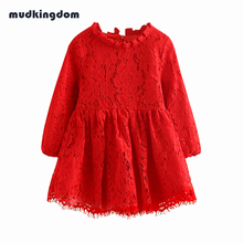Mudkingdom Baby Girl Summer Flower Lace Dress Kids Clothes Red Hallow Out Ball Party Wedding Dresses for Girl Christmas Clothing