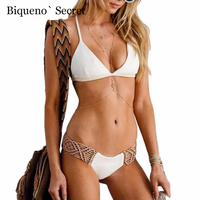 2018 Sexy Handmade Crochet Bikini Set Female Swimwear White Lace Bikini Swimsuit Push Up Pads Bathing