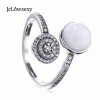 Authentieke S925 Sterling Zilver Lichtgevende Glow Ring, wit Kristal Parel Clear CZ Vrouwen Vinger Ringen Compatibel met Pan Sieraden
