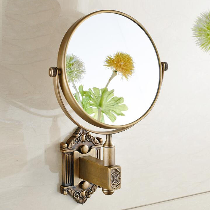 Antique Brass 8 Inch Wall-mounted Two Sided Beauty Makeup Mirror Metal 3X Magnifying Cosmetic Mirror Bathroom Mirror nyx professional makeup двустороннее зеркало dual sided compact mirror 03