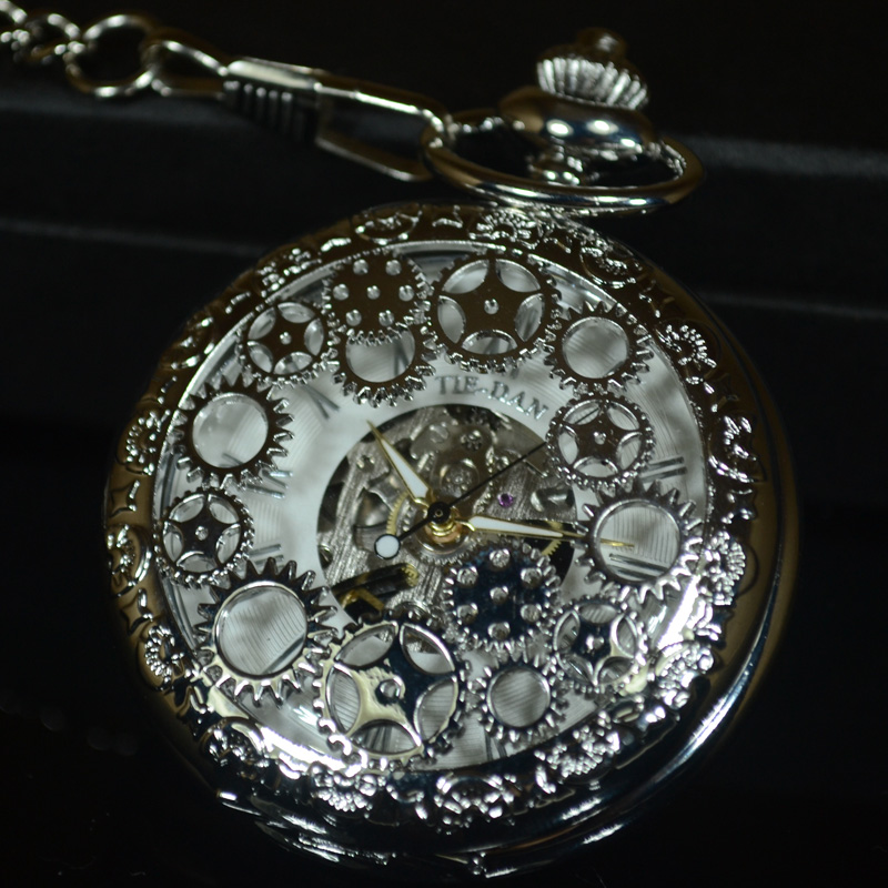TIEDAN Silver Steampunk Mechanical Pocket Watch Men Retro Antique Luxury Brand Necklace Skeleton Pocket Fob Watch Chain Male black steampunk skeleton quartz pocket watch men antique luxury necklace pocket
