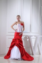 free shipping 2013 new design victoria style mermaid custom size with train bridal gown marry dress white and red wedding