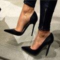 Doce são frete grátis, preto PU, não um conjunto lacing boca, 11 cm stiletto pumps, sapato de bico fino bombas. TAMANHO: 34-45