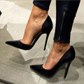 Sweet are free shipping, black PU, not a lacing set mouth, 11 cm stiletto pumps, pointed toe pumps.SIZE:34-45