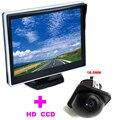 """5 """"TFT LCD Monitor Del Coche Del HD 170 monitor + Universal 18.5mm Coche Cámara de visión trasera cámara frontal 2 en 1 Sistema de Ayuda Al Aparcamiento Automático"""