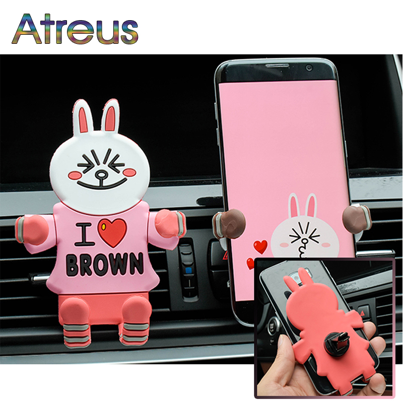 Atreus Car vents versatile cartoon phone rack for Nissan Juke X-trail Qashqai Opel Astra J H G Insignia Kia RIO Ceed Sorento