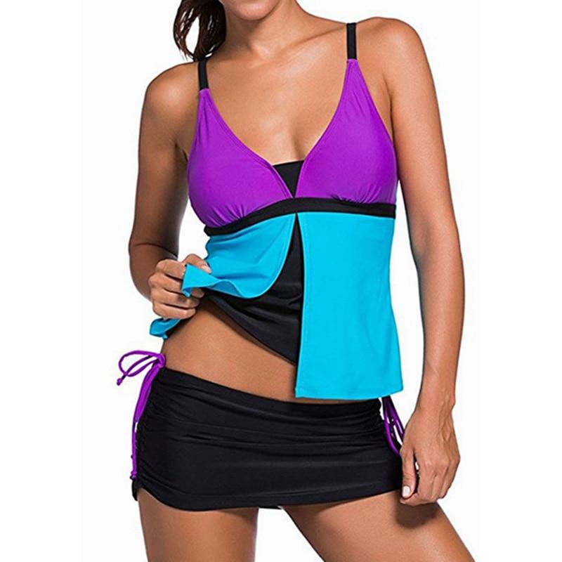 2019 Retro Print Tankini Swimwear Skirt Women Ruched Tummy Control Swimsuit Shorts Plus Size Monokini Female Bathing Suit Dress
