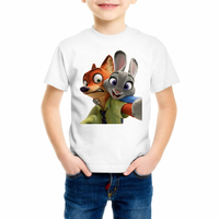 Boys/Girls/Baby crazy animal city Zootopia Judi fox rabbit Nick City Utopia t shirt New Zotopia Kids T-shirt C24-26