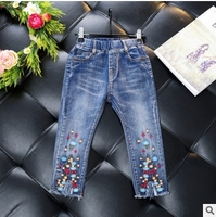 SexeMaraChildren S Clothing 2017 Girls Fall New Trend Trousers Embroidered Flowers Jeans Trousers Small Open Pants
