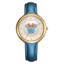 Original Disney kids watch lovely girl clock leather quartz gold silver blue pink white waterproof Diamond Mickey Mouse MK-11048