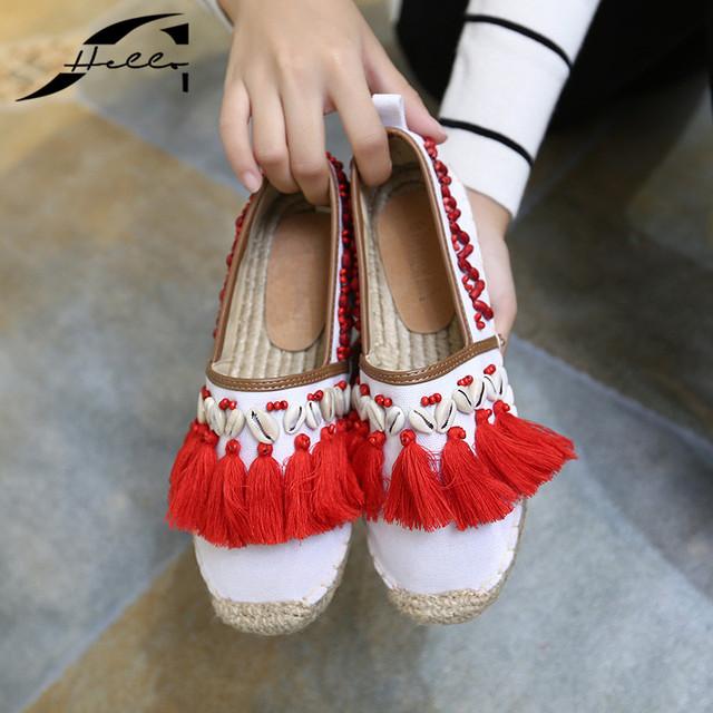 Mujeres del Resorte Mocasines alpargatas Zapatos de Lona 2017 Otoño punta Redonda abalorios Cáñamo frisherman de Tacón de Fondo Plano Zapatos de Las Mujeres Blancas