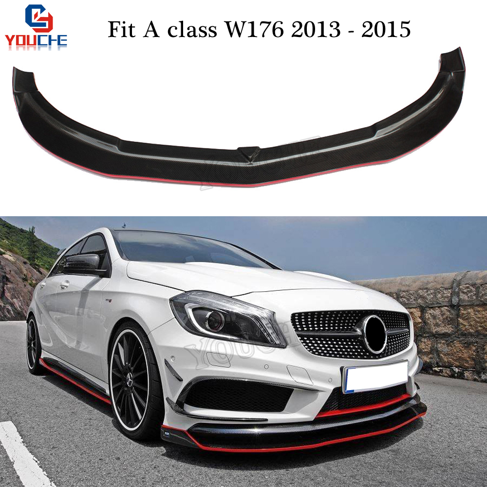 <font><b>Mercedes</b></font> <font><b>W176</b></font> Front Bumper Lip Front Lip Spoiler Splitter for <font><b>Benz</b></font> A Class A180 <font><b>A200</b></font> A250 A300 A45 AMG Package 2013 - 2015 image