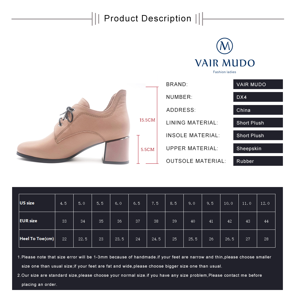 VAIR MUDO New Fashion Spring Autumn Ankle Ladies Boots High thick Heel Genuine Leather Comfortable Short Plush Women Boots DX4 in Ankle Boots from Shoes