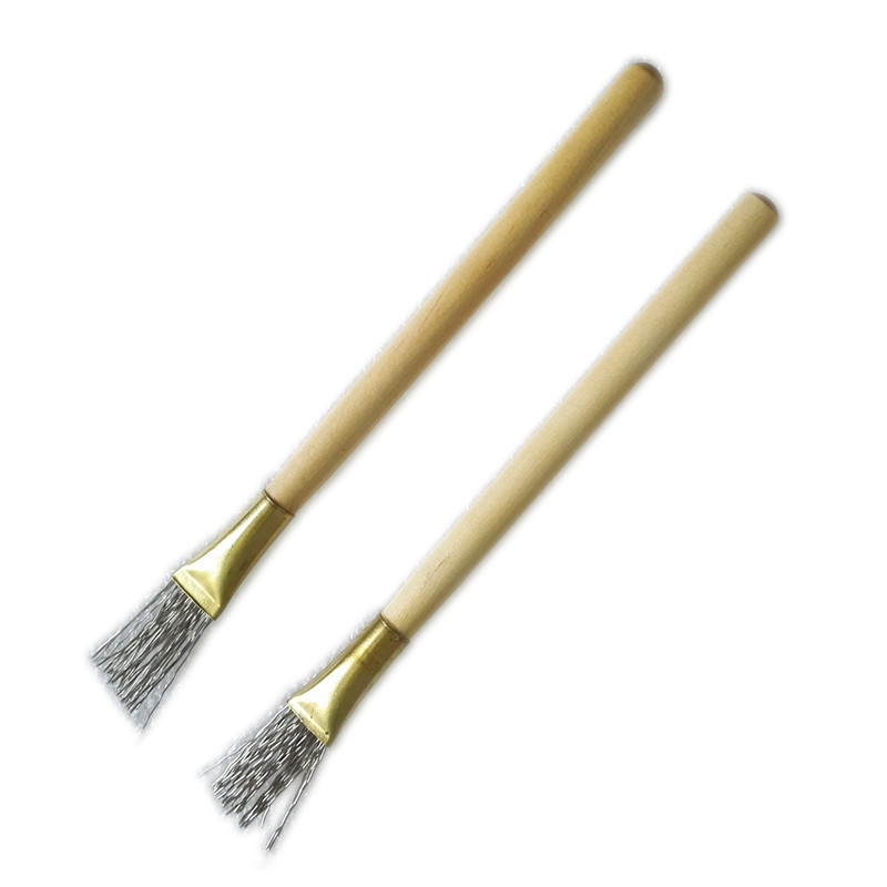 2Pcs Wooden Handle Thick/Thin Iron Wire Brush Clay Tool For Making Clay Doll Hair Model Hair Indentation Pen Art Supplies