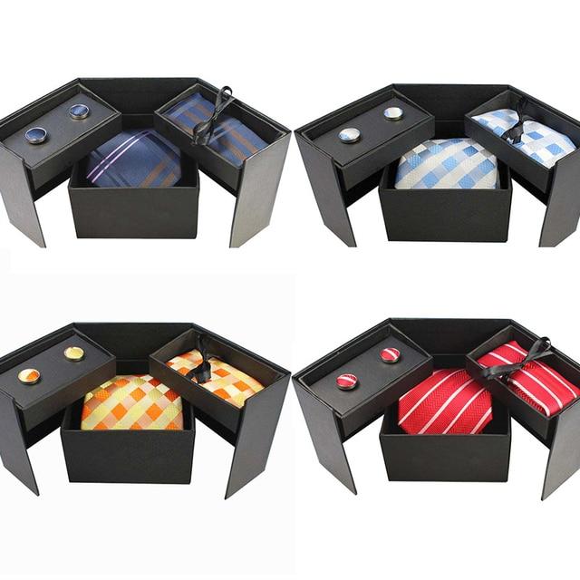 RBOCOTT Men's Classic Silk tie, Handkerchief, and Cufflinks Gift Box