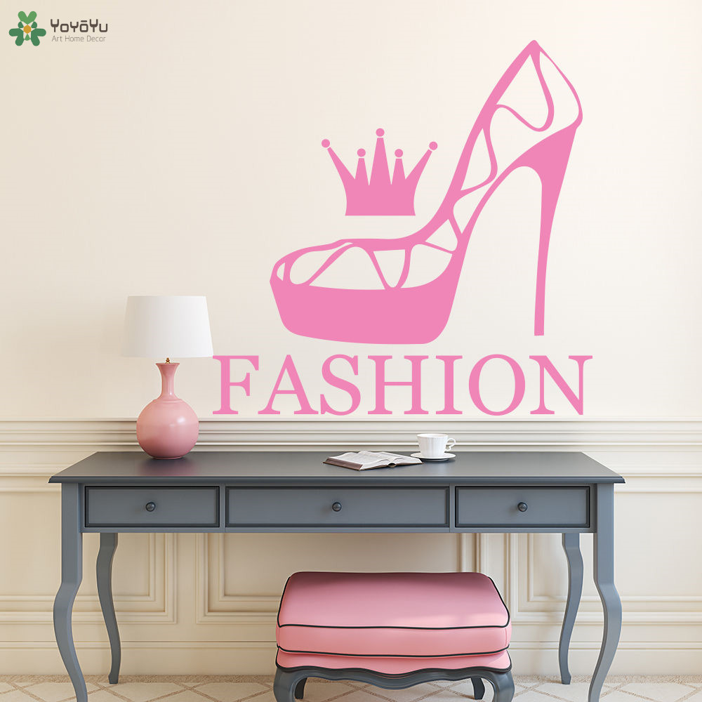 YOYOYU Wall Decal Vinyl Art Home Decor Sticker Fashion Shoes Decal Beauty Salon Poster Girls Women Removeable Mural YO557 in Wall Stickers from Home Garden