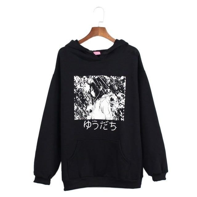 Весна Японии Манга Аниме Японский письмо мультфильм печати толстовки с капюшоном гот Femme Для мужчин/Для женщин пуловер Перемычка толстовки Топ
