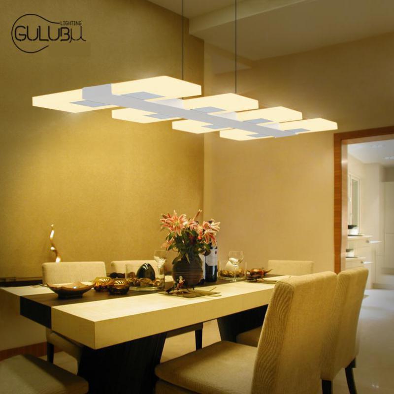 6 8 Lights Kitchen Led Lighting Chandelier Rectangular Acrylic Dining Room Modern Led Chandelier
