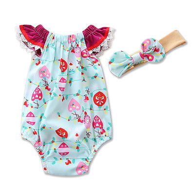 Cute Newborn Baby Girl Floral Romper Clothes Infant Bebes Lace Jumpsuit Sunsuit + Headband 2PCS Outfit Clothing Set newborn infant baby girl clothes strap lace floral romper jumpsuit outfit summer cotton backless one pieces outfit baby onesie