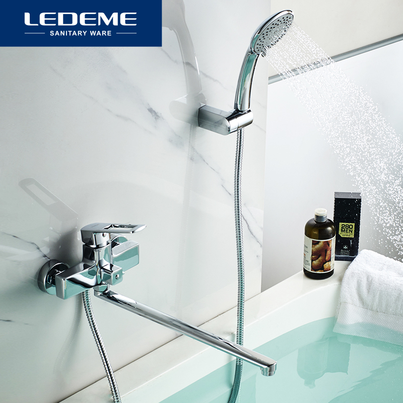 LEDEME Bathtub Faucet With Handheld Wall Mounted Long Spout Shower Bathroom Faucet Mixer Bath Shower Bathtub Faucets L2267