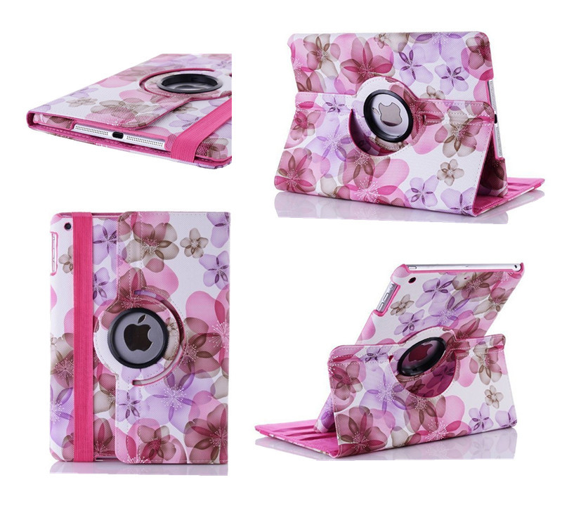 Beautiful Charming Big Flowers Pattern PU Tablet Cover Stand 360 Degree Rotatable Case for apple Ipad 2/ipad3/ipad4 Protection