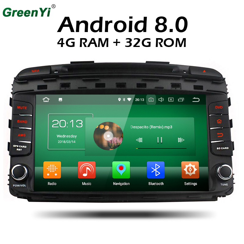 HD 8 Inch 4GB RAM Octa Core Android 8.0 Car GPS DVD Player For Kia Sorento 2015 2016 Stereo Radio TV 4G Network Multimedia joying hd 9 screen multimedia player 4gb ram octa core android 8 1 car dvd gps navigator radio for subaru forester 2008 2012
