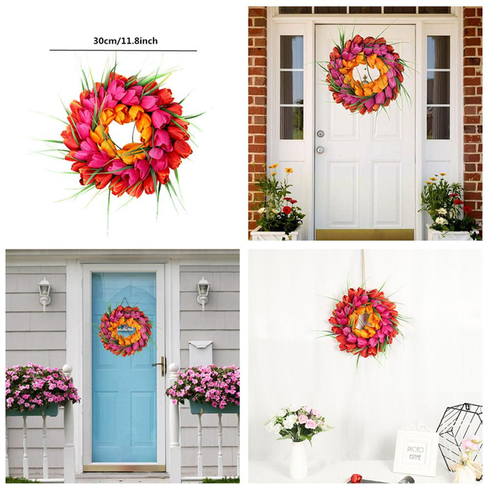 Yfashion   11.8 inch imitation tulip wreath handmade door hanging window decoration home decoration 30cm(China)