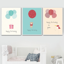 Elephant Bear Cat Rabbit Bird Balloon Gift Wall Art Canvas Painting Nordic Posters And Prints Wall Pictures Kids Room Home Decor цены