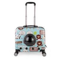 Мелких животных Pet чемодан на колесах Собака Кошка Перевозчик Путешествия Тележка для сумки Сумки для товары собак Коляска