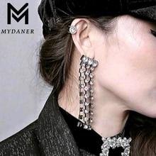 MYDANER New Full Rhinestone Vintage Tassel Earrings Drop Earring Fashion Long Tassels Rhinestone Luxury Wedding Jewelry Brincos